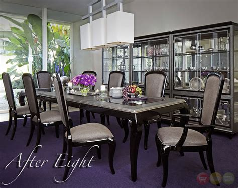 Michael Amini Dining Room Set Michael Amini After Eight Formal Dining Room Set Black Onyx By Aico