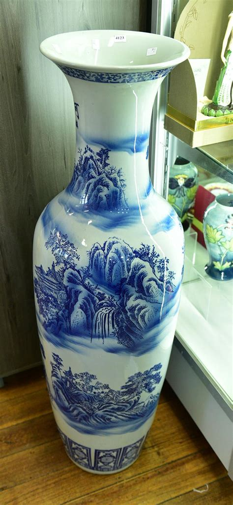 blue and white floor l a floor standing blue and white vase