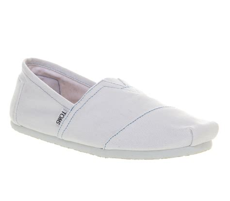 mens toms toms classic white canvas casual shoes size 9 ebay