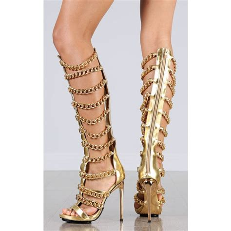 gold knee high gladiator sandals gold gladiator heels open toe metal chains knee high