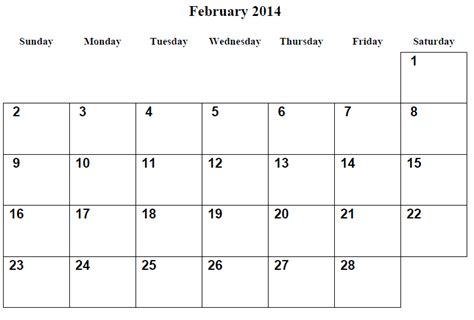 printable calendar 2014 february 7 best images of printable monthly calendar february 2014