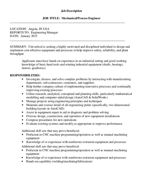 design engineer job description pdf sle process engineer job description 10 exles in pdf
