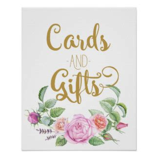 Cards And Gifts Wedding Sign - floral gifts on zazzle