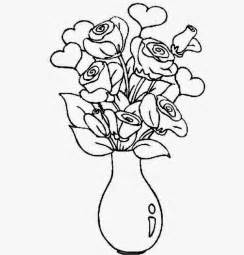 Draw A Vase Of Flowers Colour Drawing Free Wallpaper Flowers Vase Coloring