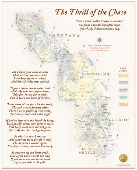 a map of the the searchers books where warm waters halt and forrest fenn s treasure poem