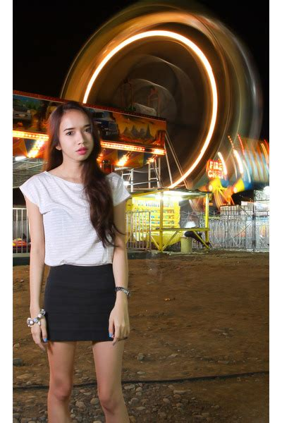 funfare hairstyle off white assymetrical blouses black bandage skirts