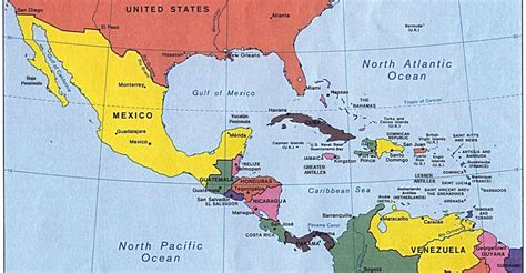 map of mexico central america and south america middle america