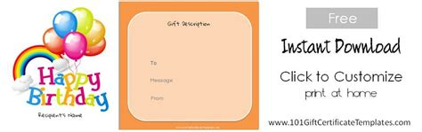 Free Birthday Gift Certificate Template Birthday Gift Card Template Printable