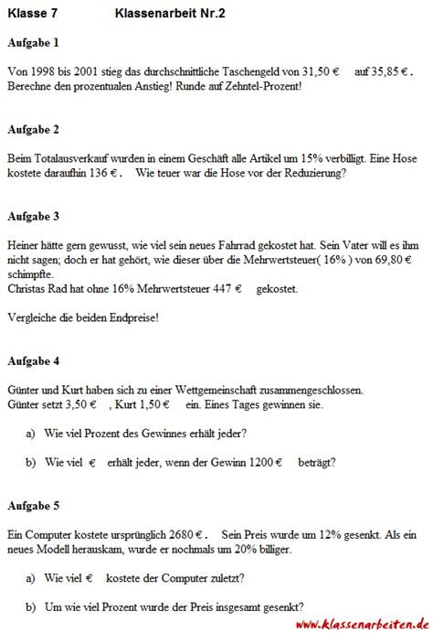 Imsa Application Essays by 2 Mathematik Klassenarbeit Zu Prozentrechnung Wiwi Mathe Language And School