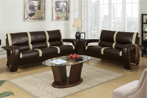 bonded leather sofa and loveseat poundex tabby f7252 brown and beige bonded leather sofa
