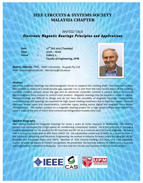 ieee malaysia section technical talk electronic magnetic bearings principles
