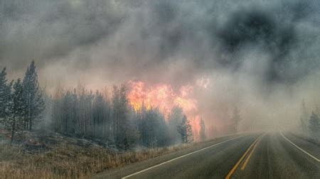 snowstorms and raging wildfires in the same region on the