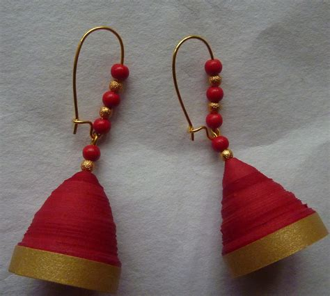 How To Make Jhumka Earrings With Paper - paper jhumka n gold shopping