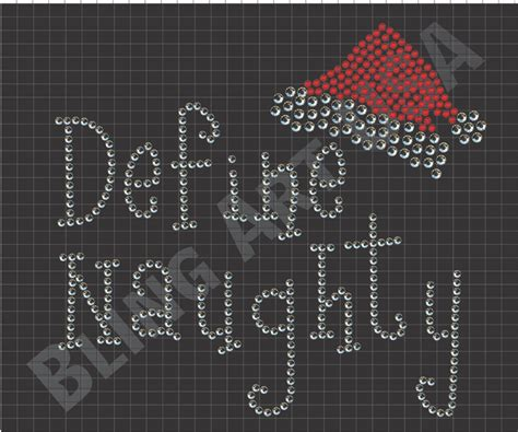 define naughty rhinestone design santa templates art svg