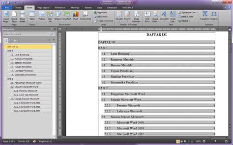 gimana cara membuat daftar isi cara membuat daftar isi secara otomatis di microsoft word