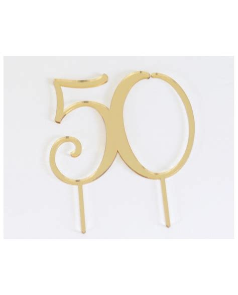 Happy Wedding Gold Acrylic Cake Topper acrylic gold cake topper numeral 50 anniversary or birthday