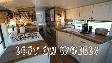 tiny house school bus school bus turned into loft on wheels tiny house youtube