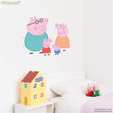 peppa pig wall stickers peppa and family wall sticker set stickerscape uk