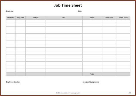 free timesheet template word madrat co