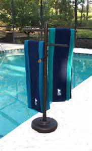 outdoor portable towel holder rack pool patio spa yard