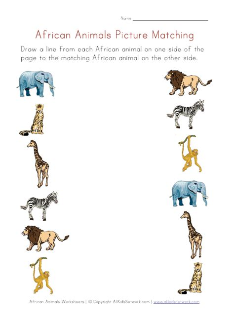 printable zoo animal matching game picture matching worksheet african animals theme