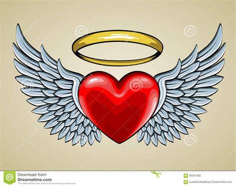 tattoo cuore con le ali cuore rosso con le ali e l alone di angelo illustrazione