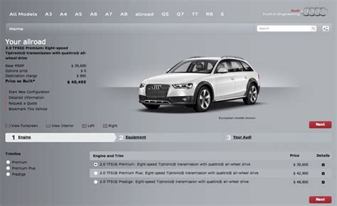 Audi Konfigurat by 2013 Audi Allroad Configurator Launched Mercedes