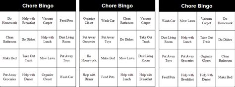 get the chores done with a game of bingo