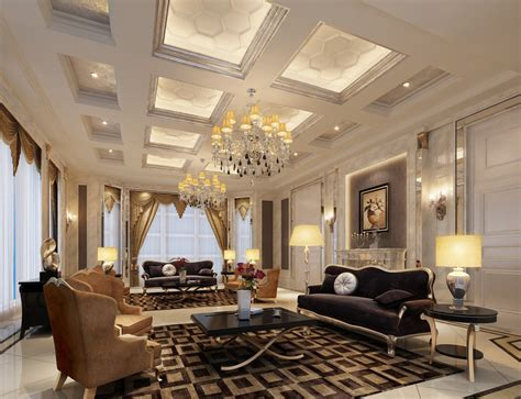 luxury villa living room interior design 3d 3d