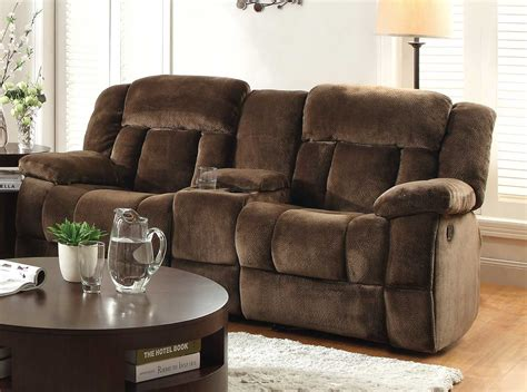 reclining sofa with center console homelegance laurelton double glider reclining love seat