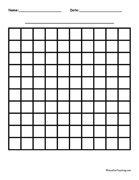 Printable Graph Paper For First Grade | 10 by 10 blank graph paper have fun teaching