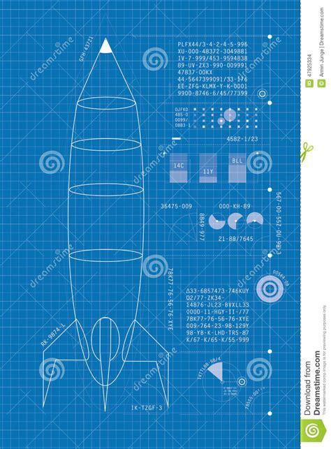 Free Blueprints Maker rocket blueprint vertical stock illustration image