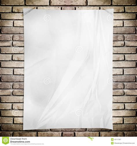 wall template template white crumpled rectangle poster on grunge brick