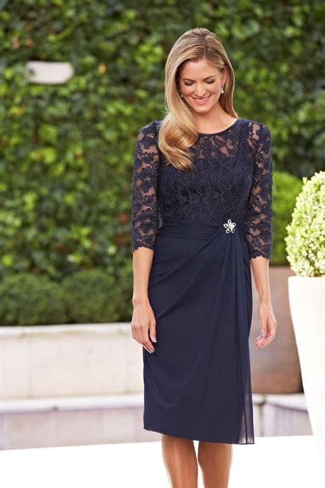 elegant navy blue mother   bride dresses knee length