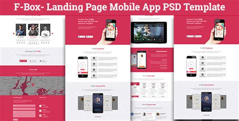 F Box Landing Page Mobile App Psd Template By Codetroopers Themeforest Mobile App Landing Page Template