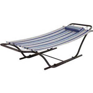 mainstays folding sling hammock with stand blue stripe walmart com