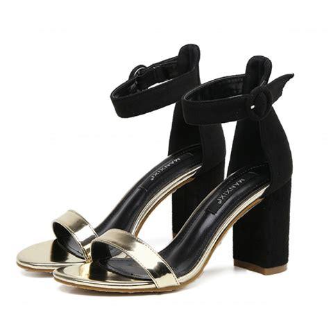 gold block heel sandals black gold block heel ankle sandals