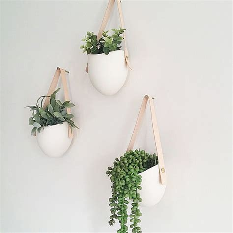 hanging planter set of 3 spora w leather porcelain hanging planters