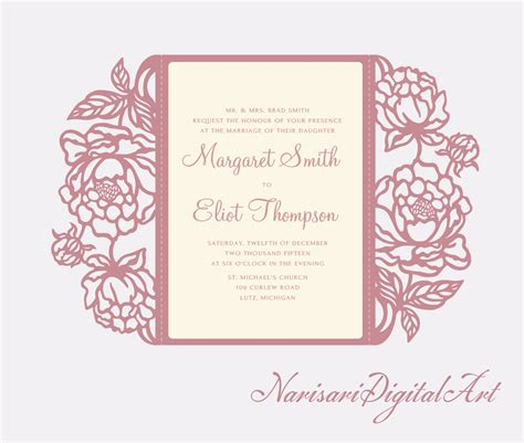 cricut card templates peonies cricut silhouette cameo wedding invitation gate