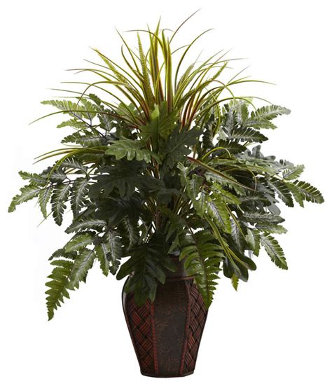 Indoor Grass Planter by Mixed Grass And Fern In Decorative Planter Arrangement