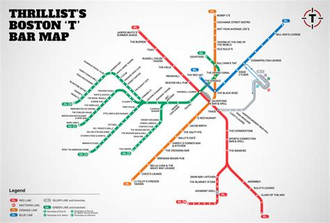boston map with t stops boston s map of bars near the t mbta bar map