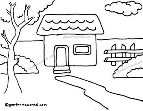 contoh gambar mewarnai rumah terbaru gambar mewarnai