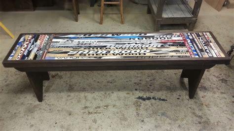 hockey stick bench bench made from broken hockey sticks reclaimed wood