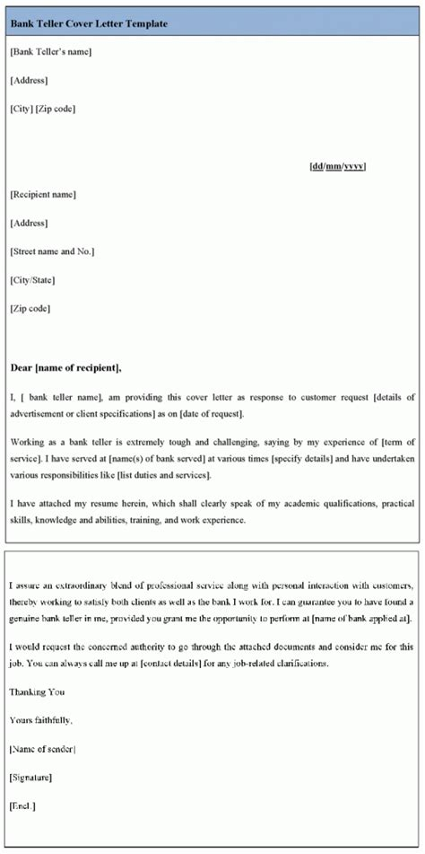 cover letter exles for bank teller sle cover letter cover letter template for bank teller