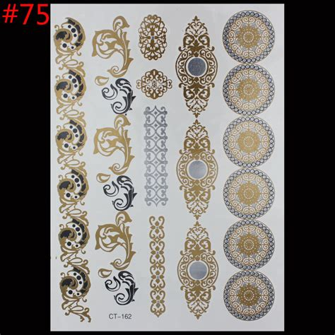 Stickers Gold Silver Temporary new style painting stickers glitter metal gold silver temporary flash