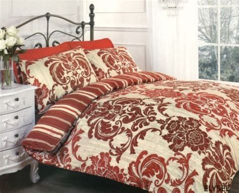 Duvet Cover Set King Elysee Red Beige Floral Damask Print King Size Duvet Cover
