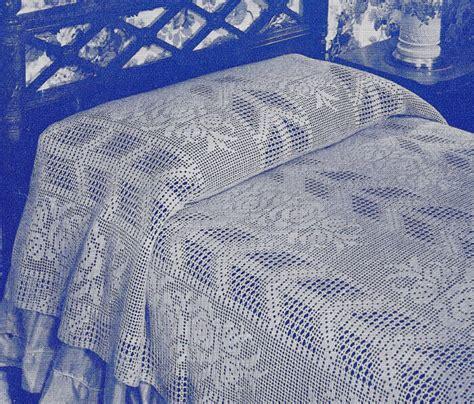 vintage crochet pattern   filet bedspread arrow rose