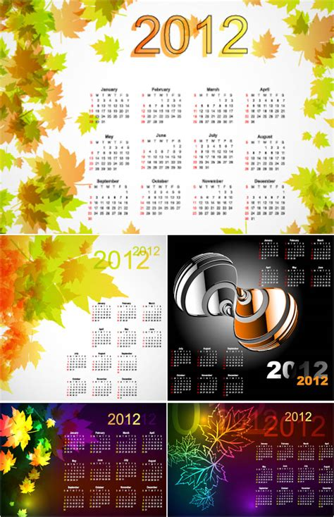 Templates Free 2012 by 2012 Calendar Templates With Leaves Vector Vector