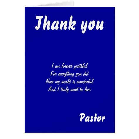 thank you letter to our pastor thank you pastor greeting cards zazzle