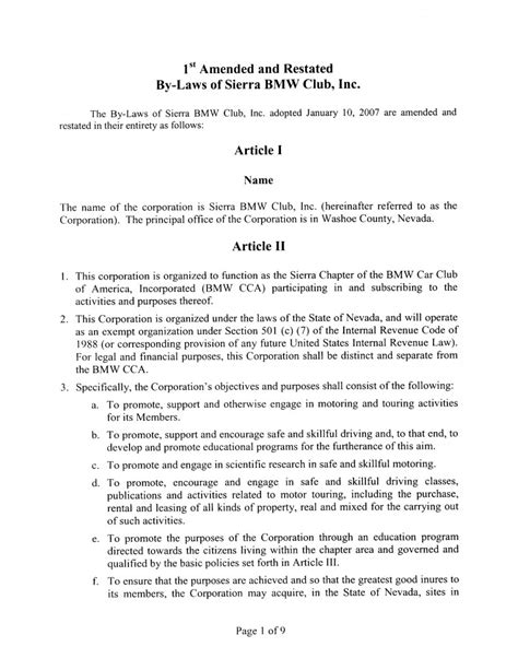 Bylaws Sierra Chapter Bmw Cca Social Club Bylaws Template